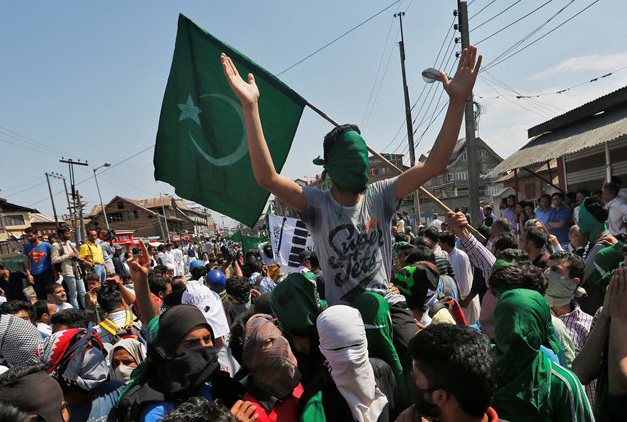 Supporters of the moderate faction of All Parties Hurriyat Conference attend a rally in Srinagar